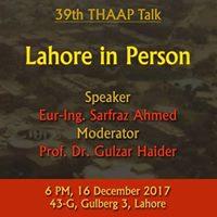 39th THAAP Talk by Eur-Ing. Sarfraz Ahmed