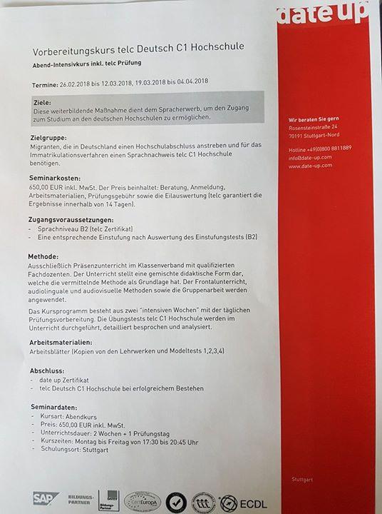 Vorbereitungskurs Deutsch telc C1 Hochschule at date up training ...