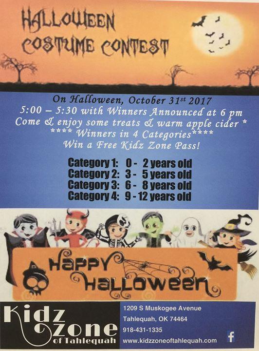 halloween costume contest at kidz zone of tahlequah tahlequah