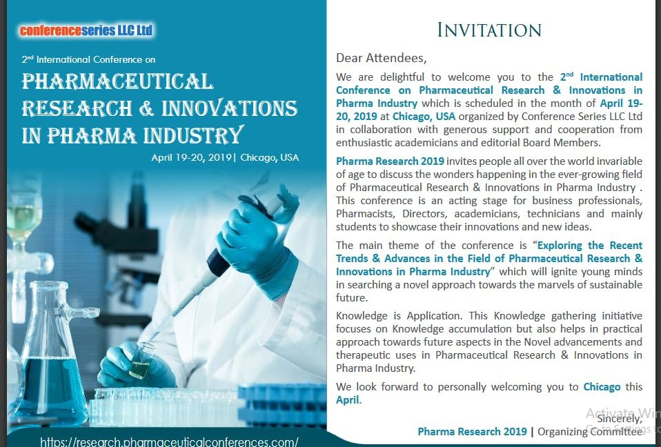 2nd International Conference on Pharmaceutical Research & Innovations in Pharma Industry (CSE) A
