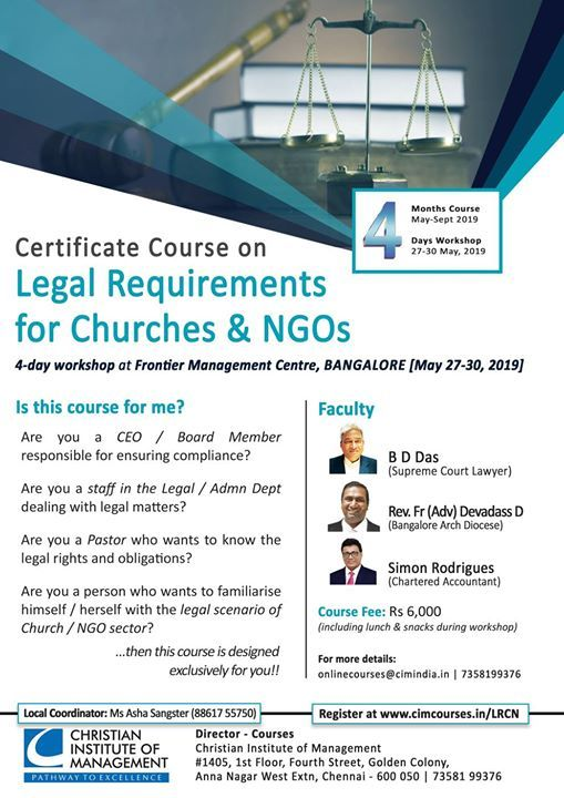 Workshop Legal Requirements for Churches & NGOs