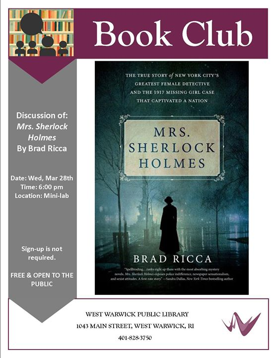 Book Club Mrs Sherlock Holmes At West Warwick Public Library West