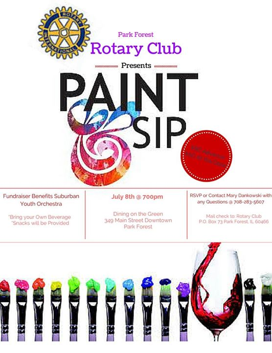 Rotary club of park forest paint sip at dining on the for Wine and paint indianapolis