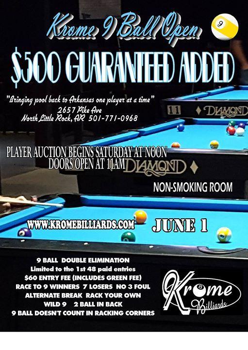 500 added Krome 9 Ball Open