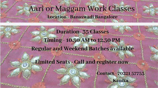 Aari Work Maggam Work Hand Embroidery Classes in Bangalore