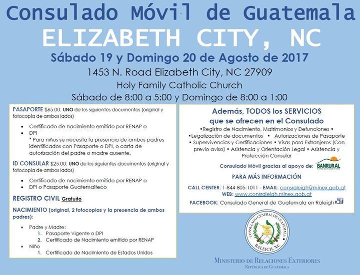 MOVIL Elizabeth City, NC 19 y 20 de agosto 2017 at Consulado General ...