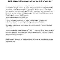 2017 Advanced Summer Institute for Online Teaching