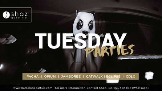 Tuesday Free Parties with Shaz List