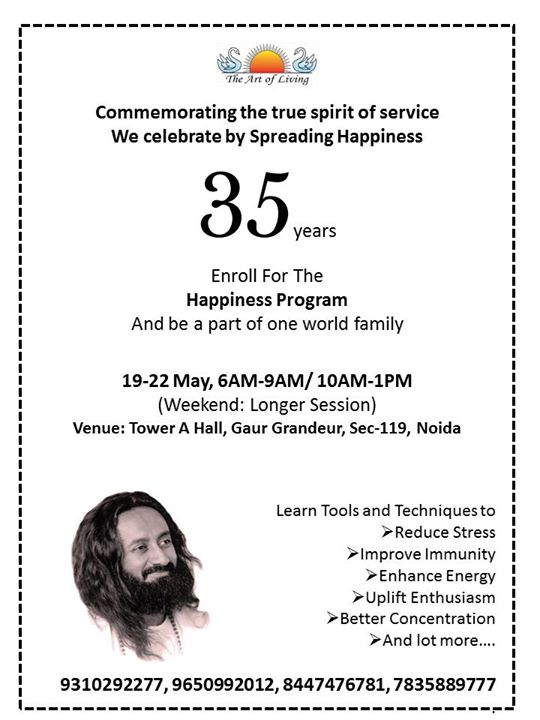 Happiness Program Art Of Living At A Block Hall Gaur Grandeur Sec 119 Noid