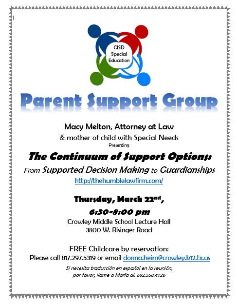 Parent Support Meeting with Macy Melton Attorney