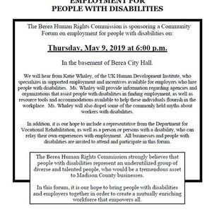 Community Forum on Employment for People with Disabilities