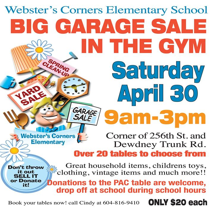 Websters elementary school big garage sale in the gym