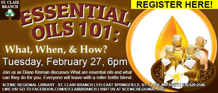 Essential Oils 101 at Scenic Regional Library - St Clair
