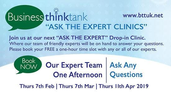 Ask Experts Free One On One >> Business Think Tank Drop In Ask The Expert Clinic 7th February