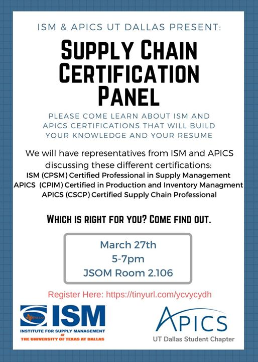 Supply Chain Certification Panel At Apics Ut Dallas Student Chapter