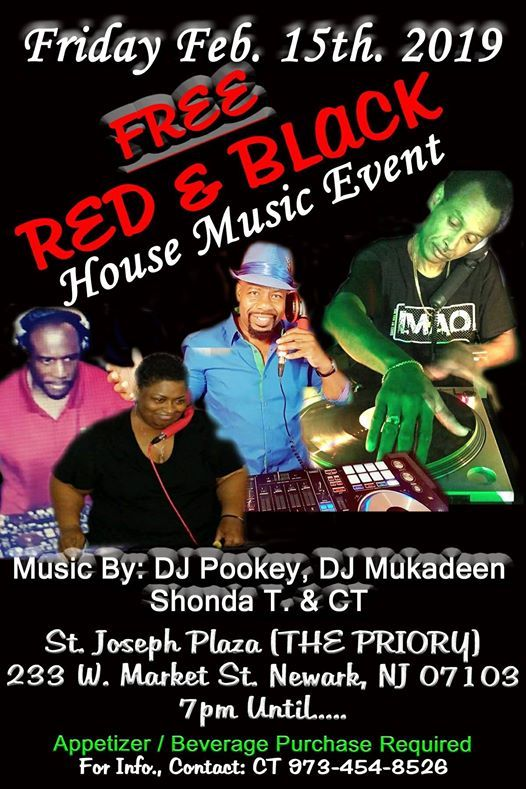 Friday February 15th 2019 Free Red & Black House Music Event