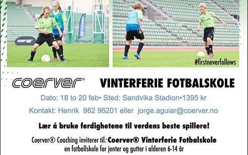 Coerver Vinterferie Fotballskole At Bærum Sportsklubbkadettangen