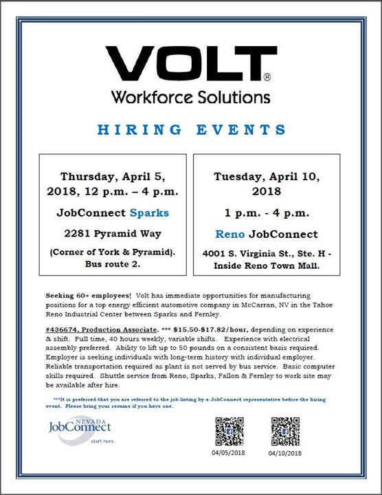 Hiring Event: Volt Workforce Solutions at Northern Nevada JobConnect ...