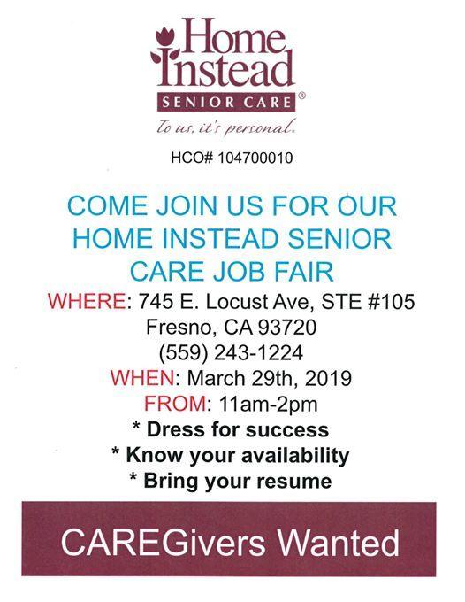 Caregiver Job Fair at Home Instead Senior Care, Fresno