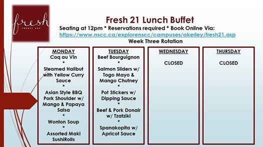 Lunch Buffet April 1st & 2nd