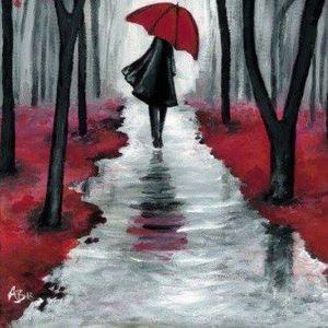 ArtNight Frau mit rotem Schirm am 25062019 in Bochum