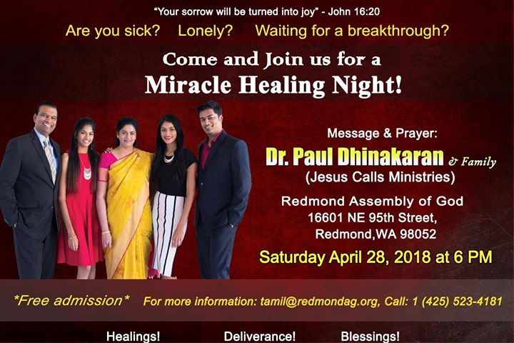 Redmond Tamil Assembly Invites You to Miracle Healing Night