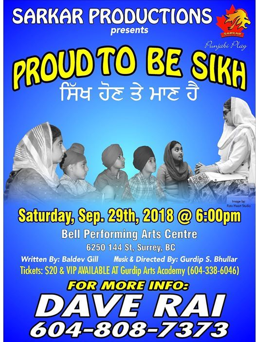 proud to be sikh at bell performing arts centre surrey