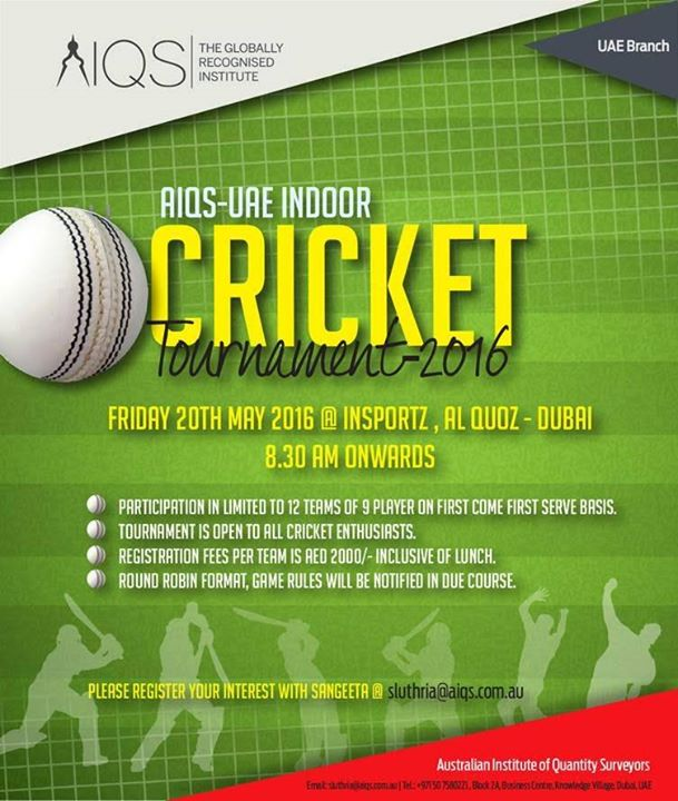 Invitation For Corporate Cricket Tournament: AIQS Indoor Cricket Tournament