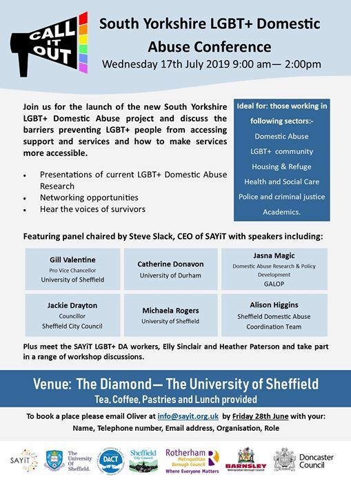 Call It Out South Yorkshire LGBT Domestic Abuse Conference