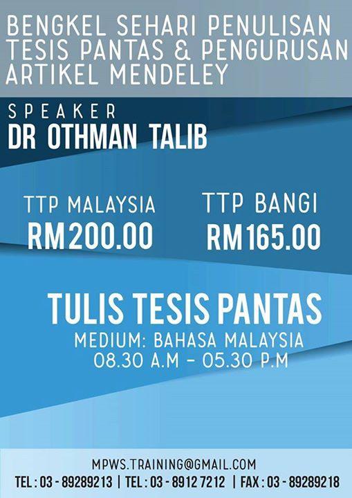 penulisan tesis pantas Othman talib thesis paper – 580884 author: sehari penulisan tesis pantas dan aspek yang ingin ditekankan oleh dr othman talib adalah penulisan tesis.