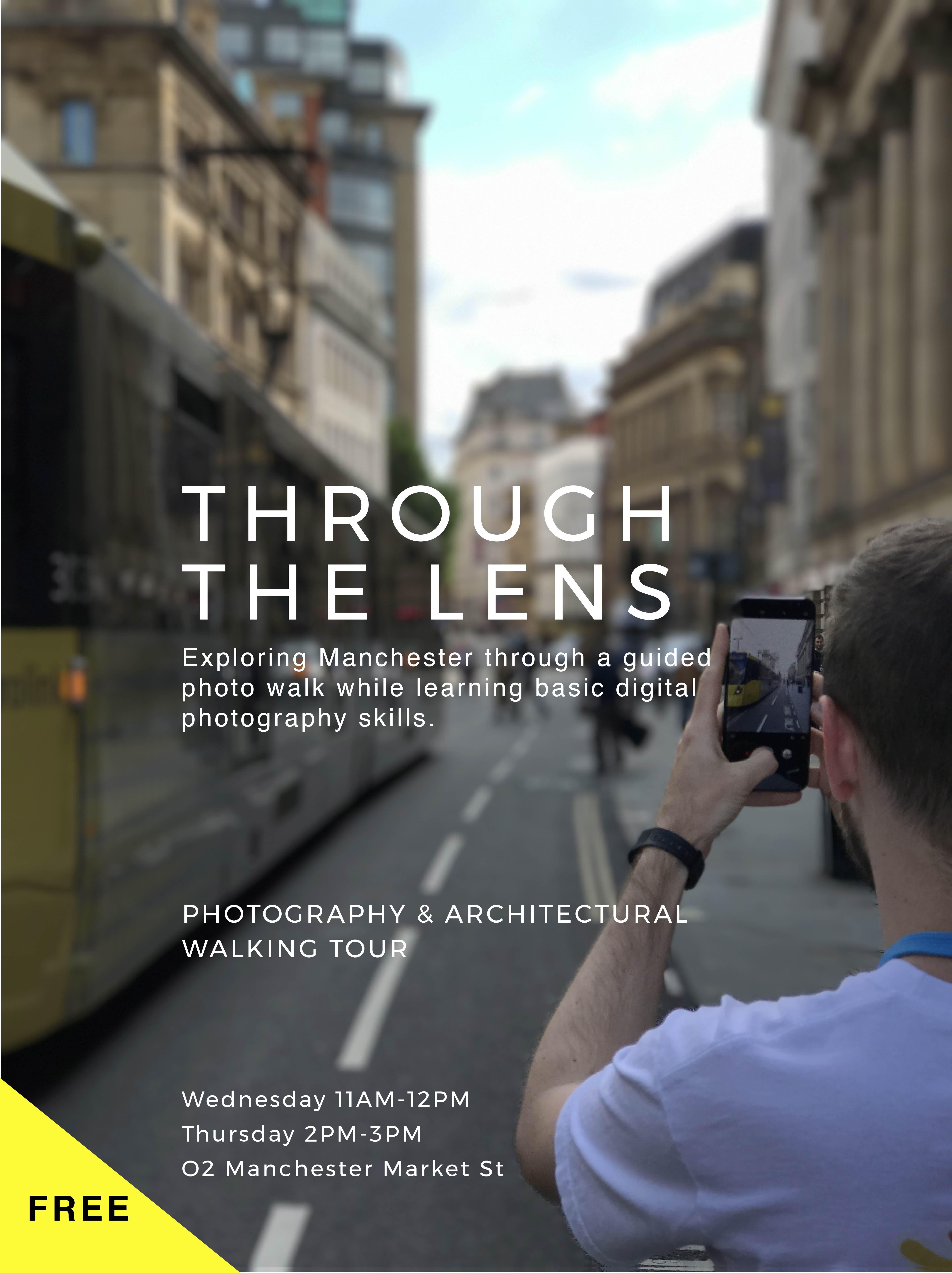through the lens mcr free photography walking tour at o2 manchester