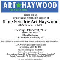 Please Join Senator Art Haywood For Breakfast In Harrisburg