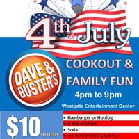 Dave and Busters Westgate 4th of July Cookout and Family Fun