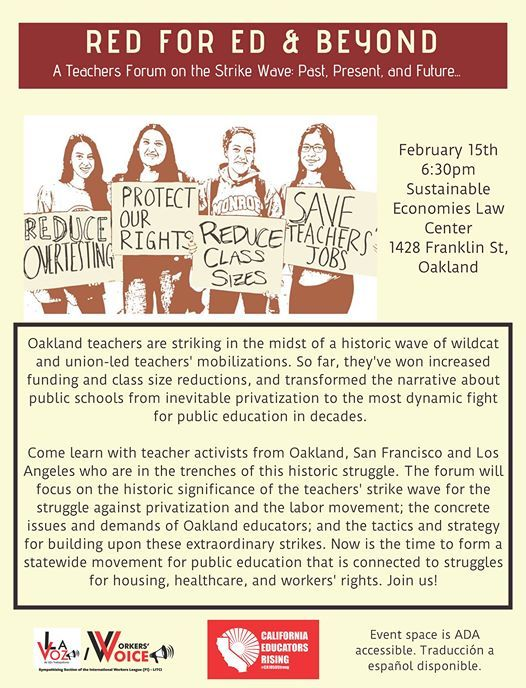 Red for Ed and Beyond: A Teachers Forum at Sustainable