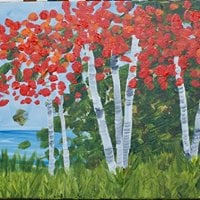 Paint by Wine Red Birch Trees Group Event