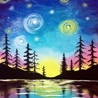 Paint Nite  Starry Lake Sunset