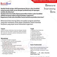 Public Workshop  Behavioral Interviewing Skill