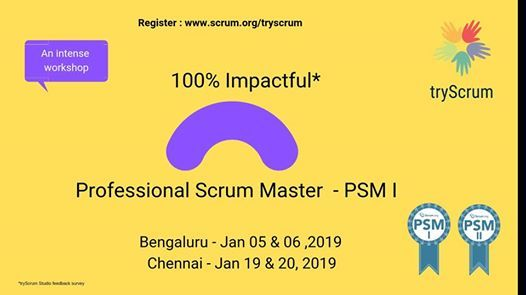 Professional Scrum Training at Bangalore and Chennai