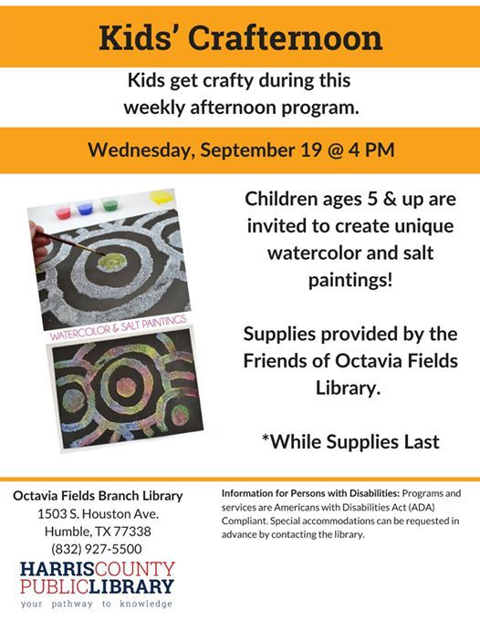 Kids Crafternoon At Octavia Fields Branch Library Humble