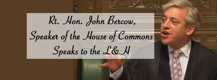 Rt. Hon. John Bercow speaks to the L&H