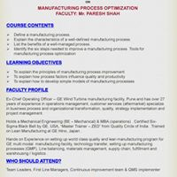 MDP on Manufacturing Process Optimization - 7.11.2017
