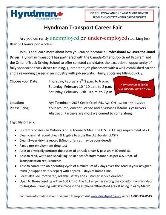 Hyndman Transport Career Fair | Ayr