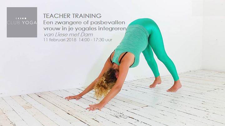 Yogadocentworkshop Zwangerepasbevallen vrouw in les integreren