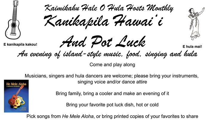 Kanikapila Hawaii Potluck September 30 2017