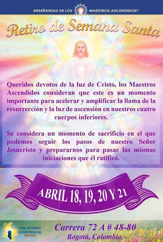 Retiro de Semana Santa  En la gloria del Cristo vivo .