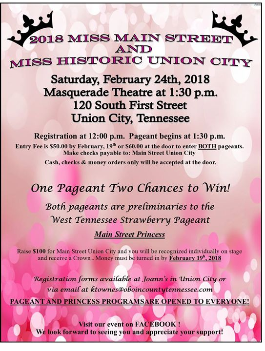 2018 Miss Main Street and Miss Historic Union City Pageant
