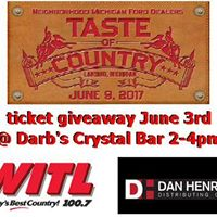 Taste of Country ticket giveaway - June 3rd 2pm-4pm