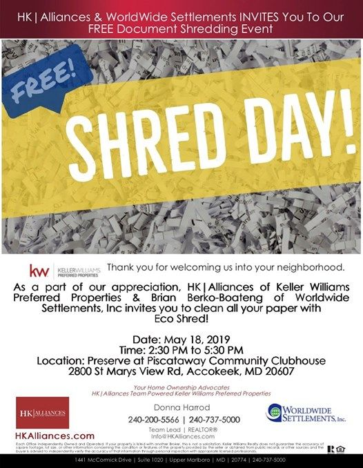 Free Community Shred Day at 2800 St Marys View Rd, Accokeek, MD