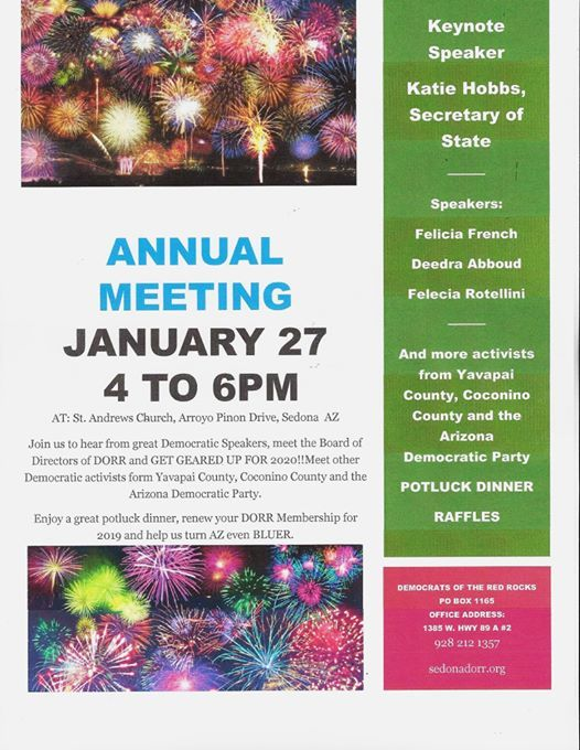 Katie Hobbs is the speaker for our Annual Meeting 4-6 on Jan 27