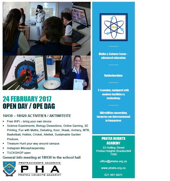 Open Day/Ope Dag -Registration for 2018 opens on 1 February 2017 at